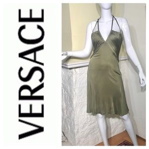 Authentic VERSACE Cutout Draped Army Green Dress